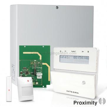 InteGra 32 RF Pack met Wit KLFR PROX LCD Bediendeel, RF Module, Draadloos Magneetcontact en Bewegingsmelder