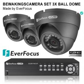 EverFocus bewakingscamera set 3x dome camera + Ecor recorder